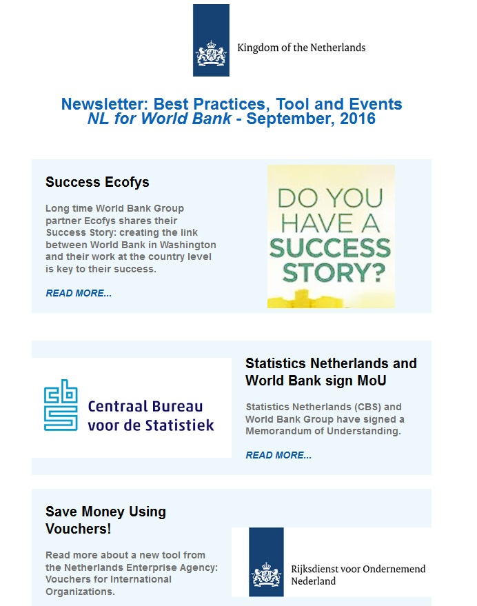 Newsletter best practices tool and events nl for world bank newsletter best practices tool and events nl for world bank september 2016 netherlands for the world bank sciox Choice Image